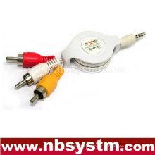 Câble flexible de 3,5 à 3xRCA (jaune, blanc, rouge)