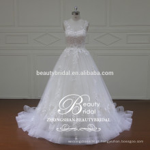 Lindo barco ver através do vestido de noiva de volta, vestido de noiva sem mangas com designer de líbano