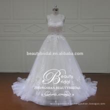 великолепная бато видеть сквозь назад свадебное платье, Ливан дизайнер рукавов свадебные платья