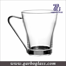 Clear Irish Glass Coffee Mug with Steel Handle