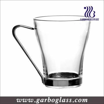 Taza de café transparente del vidrio irlandés con la manija de acero