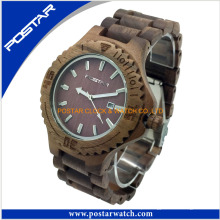 Relógio de madeira das senhoras / homens do material Eco-Amigável de 100%