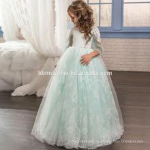 Neue Stil Kinder Kleider Spitze Tüll Lange Eine Linie Kinder Party Kleid Blumenmädchen Kleid Muster