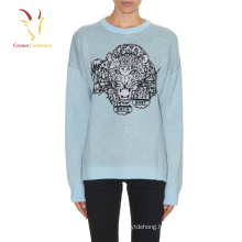 women knit cashmere sweater with leopard printed