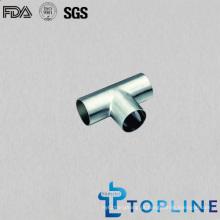 T sanitário igual de aço inoxidável com extremidades da soldadura