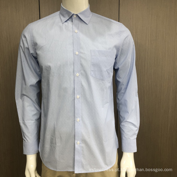 Camisa masculina 100% algodão jacquard manga longa