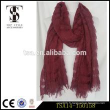 Begger style hole type laine rouge et écharpe acrylique blendiing nouveau design