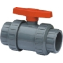 Válvula de bola verdadera de la unión del PVC, válvula de bola doble de la unión, válvula de bola plástica