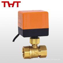 Válvula de bola motorizada de latón rojo de control de flujo eléctrico de 2 vías para agua