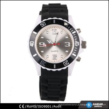 Relógio de pulso de silicone de quartzo