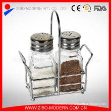 Botella de pimienta de alta calidad Botella de especias de vidrio con estante de especias