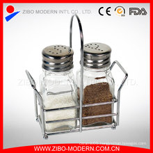 High Quality Salt Pepper Bottle Glass Spice Jar with Spice Rack