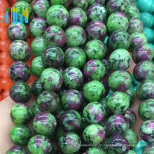 Barato 10mm Natural Epídoto Pedras Preciosas Alta Qualidade Suave Rubi Zoisite Gemstone Beads