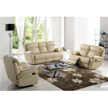 Mueble reclinable manual de cuero de color beige