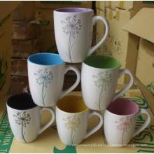 Taza de cerámica con patrón grabado con láser