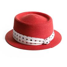 Flat Brim Satin Brand  Paper Straw Hat.