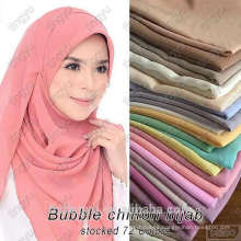Marca de moda tingyu mujeres color sólido larga árabe dubai al por mayor musulmán llano burbuja gasa hijab