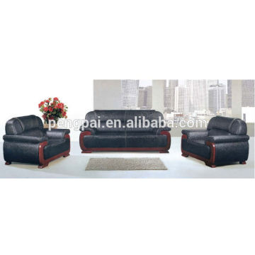 classic black leather office sofa for office