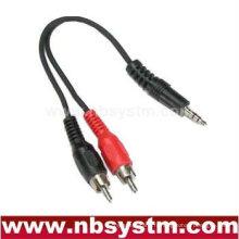 Câble mâle stéréo stéréo 3,5 mm à 2 câbles mâle RCA