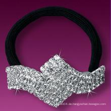 Mode Metall versilbert Kristall kleine elastische Haarbänder