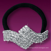 fashion metal silver plated crystal small elastic hair bands
