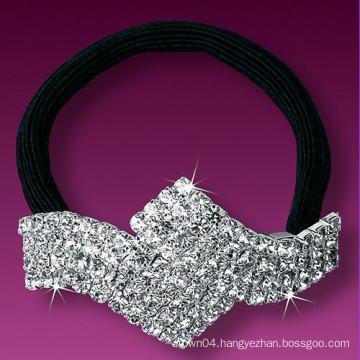 fashion metal silver plated crystal small elastic hair bands