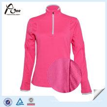 Camisas por atacado cor-de-rosa da aptidão do pulôver da mulher da placa da cor do néon