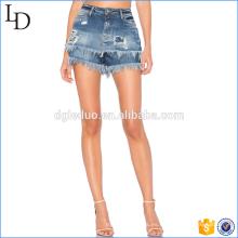 Pantalones cortos de cintura alta de verano moda mujeres lavar pantalones cortos de mezclilla borla