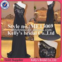 Black lace one shoulder made in high quality elastic fabric sexy girls party dresses
