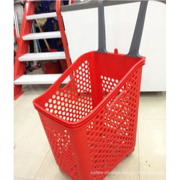 Plastic Hand Push Supermarket Shopping Basket