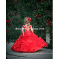 New fashion round neck floor length baby girl wedding dress beaded A line baby girl dress in red color for party