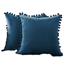 Soft Velvet Dark Blue Pillow Covers Decorative Cute Pom Poms Throw Pillow Covers Square Cushion Case for Sofa Couch Home Decor
