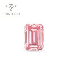 ForeverFlame  fancy pink 5ct 8mm*11mm  Emerald Cut diamond vvs CVD CZ Moissanite women jewlery diamon ring