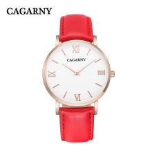 Мода Роман кожаный наручные часы для Леди