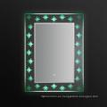 Espejo del cuarto de baño del marco del PVC de la pantalla táctil 2016 LED con el reloj