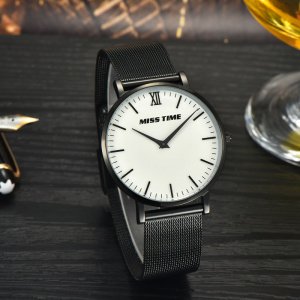 designer crystal mineral glass mesh band mens watch