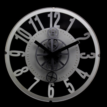 Reloj de pared Vintage Gear negro blanco