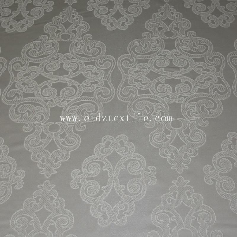 Jacquard Flower Pattern Embroidery Like Curtain Fabric GF024