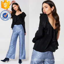 Black Frill Long Sleeve V-Neck Ruffled Summer Top Manufacture Wholesale Fashion Women Apparel (TA0073T)