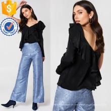 Frill preto manga comprida com decote em v babados verão top fabricação atacado moda feminina vestuário (ta0073t)