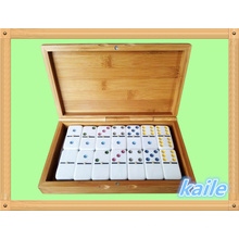 Double 6 plastic domino pack em caixa de bambu