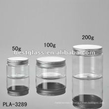 Pot de 50g, 100g, 200g, pot cosmétique, pot en plastique, avec le chapeau en aluminium, acceptent l'OEM