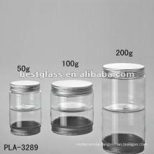 50g, 100g, 200g jar, cosmetic jar, plastic jar, with aluminum cap, accept OEM