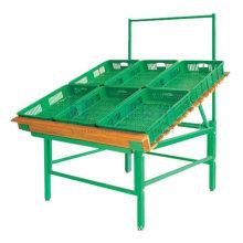 Durable Supermarket Fruit And Vegetable Shelving Display Metal Rack Showcase