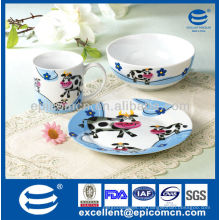 3Pcs Porzellan Frühstückssatz BC8005 für Kinder keramische Kinder stellte Firma ein