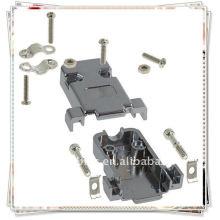 SCHWARZ DB9 9Pin PVC Plastikkasten-Abdeckungs-Adapter-Verbindungsstück-Shell