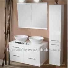 Белый деревянный шкаф для ванной комнаты / тщеславие / мебель