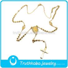 TKB-N0032 Jesus Crucifixo Virgem Maria Jóias Rosário Bead Chapeamento de Ouro Religiosa de Aço Inoxidável de Alta Qualidade Colar
