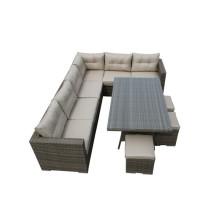 Nuevo juego de sofá de esquina de mimbre de jardín de 9 plazas