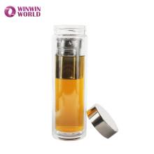 BPA livre à prova de vazamento de parede dupla de vidro garrafa térmica vácuo chá com coador de chá